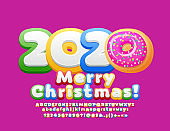 Vector greeting card Merry Christmas 2020 with decorative donut. Bright Alphabet set