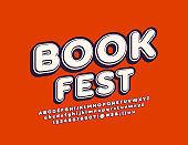 Vector poster Book Fest with trendy Font. Retro Alphabet set
