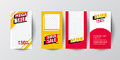 Mobile Sale banners template set for online shopping.