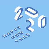 2020 Happy New Year. Isometric greeting card template. Vector