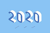 2020 Isometric illustration of Happy New Year. Vector background