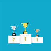 Winners cups on podium vector illustration in flat design style