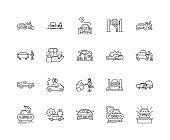 Car insurance line icons, signs, vector set, outline illustration concept