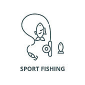 Sport fishing vector line icon, linear concept, outline sign, symbol