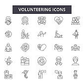 Volunteering line icons, signs set, vector. Volunteering outline concept, illustration: volunteer,charity,hand,love,human,people,care