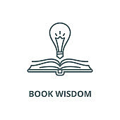 Book wisdom vector line icon, linear concept, outline sign, symbol