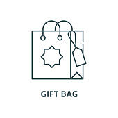 Gift bag vector line icon, linear concept, outline sign, symbol