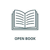 Open book vector line icon, linear concept, outline sign, symbol