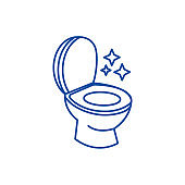 Toilet clean, cleaning service line icon concept. Toilet clean, cleaning service flat  vector symbol, sign, outline illustration.
