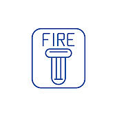 Fire safety line icon concept. Fire safety flat  vector symbol, sign, outline illustration.