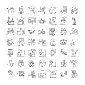 Online people linear icons, signs, symbols vector line illustration set