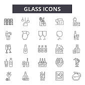 Glass line icons, signs set, vector. Glass outline concept, illustration: zoom,glass,find,search,magnifying,research