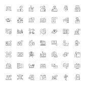Financial services linear icons, signs, symbols vector line illustration set