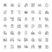 Money linear icons, signs, symbols vector line illustration set