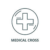 Medical cross vector line icon, linear concept, outline sign, symbol