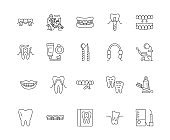 Dentistry line icons, signs, vector set, outline illustration concept