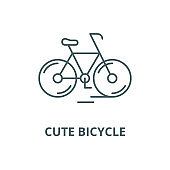 Cute bicycle vector line icon, linear concept, outline sign, symbol