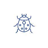 Bug line icon concept. Bug flat  vector symbol, sign, outline illustration.