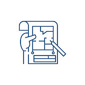 Planning line icon concept. Planning flat  vector symbol, sign, outline illustration.