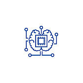 Artificial intelligence, chip with brain line icon concept. Artificial intelligence, chip with brain flat  vector symbol, sign, outline illustration.