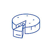 Cheese line icon concept. Cheese flat  vector symbol, sign, outline illustration.