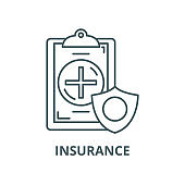 Insurance vector line icon, linear concept, outline sign, symbol
