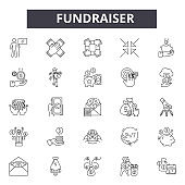Fundraiser line icons, signs, vector set, linear concept, outline illustration
