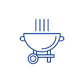 Barbecue grill line icon concept. Barbecue grill flat  vector symbol, sign, outline illustration.