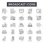 Broadcast line icons, signs set, vector. Broadcast outline concept, illustration: antenna,communication,technology,internet,radio,broadcasting,connection