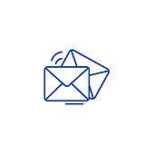 Mail,email,envelope line icon concept. Mail,email,envelope flat  vector symbol, sign, outline illustration.