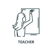 Teacher writes in chalk on a blackboard vector line icon, linear concept, outline sign, symbol