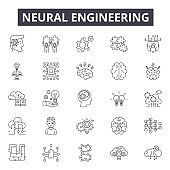 Neural engineering line icons, signs set, vector. Neural engineering outline concept, illustration: engineering,machine,technology,science,neural,digital,robot,computer,artificial