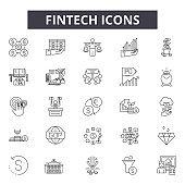 Fintech line icons, signs set, vector. Fintech outline concept, illustration: fintech,finance,business,money,technology,financial,payment,concept,digital