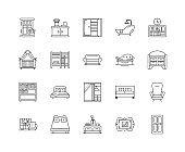 Household furniture line icons, signs, vector set, outline illustration concept