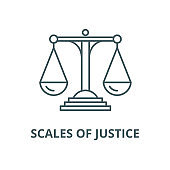 Scales of justice vector line icon, linear concept, outline sign, symbol