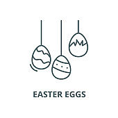 Easter eggs vector line icon, linear concept, outline sign, symbol