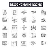 Blockchain line icons for web and mobile design. Editable stroke signs. Blockchain  outline concept illustrations