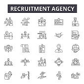Recruitment agency line icons, signs, vector set, linear concept, outline illustration
