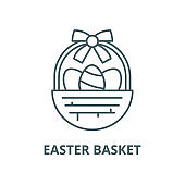 Easter basket vector line icon, linear concept, outline sign, symbol
