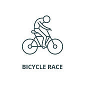 Bicycle race vector line icon, linear concept, outline sign, symbol