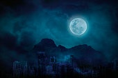 Blue full moon in city abandonment with the mountains and clouds, bright and dark at midnight