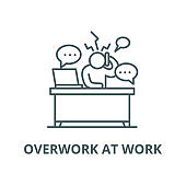 Overwork at work vector line icon, linear concept, outline sign, symbol