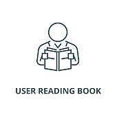 User reading book vector line icon, linear concept, outline sign, symbol