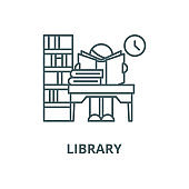 Library vector line icon, linear concept, outline sign, symbol