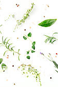 Culinary herbs and spices, shot above on a white background, cooking pattern