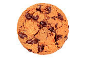 A photo of a chocolate chip cookie, isolated on a white background with a clipping path, shot from above
