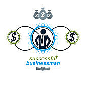 Successful Business creative logo, vector conceptual symbol isolated on white background. Special and unique sign.