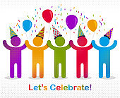 Celebrating people vector concept simple illustration or icon, celebration anniversary or holiday fun, group of cheerful happy people having fun at party.