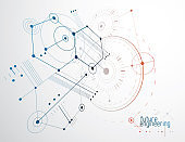 Technical plan, abstract engineering draft for use in graphic and web design. Vector drawing of industrial system created with hexagons, lines and circles.