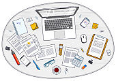 Office employee or entrepreneur work desk workplace with laptop computer and analytics papers with graphs and data and stationery objects on table. All elements are easy to use separately. Vector.
